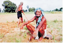 Indian peasants waiting